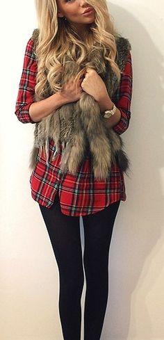 fur vest and plaid shirt