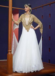 White Soft Net Gown