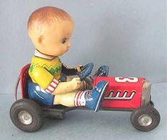 Vintage Japan Tin Litho Boy on Racer Race Car No 3 Friction Toy