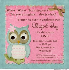 pink teal and ivory baby birthday decorations | Sweet Owl Birthday Invitation - Photo Little Girl Turning One Pink