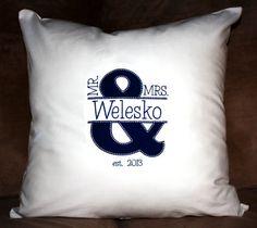 Mr & Mrs Applique Monogram Pillow Cover