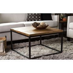"""Update any space with the Kosas Home Paris Mahogany Raw Mango Wood and Iron 30"""" Square Coffee Table. Sleek and airy, this coffee table is ideal for both traditional and modern homes with the contrast"""