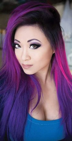 Multi-Colored Hair  Beauty: Fantasy Unicorn Purple Violet Red Cherry Pink Bright Hair Colour Color Coloured Colored Fire Style curls haircut lilac lavender short long mermaid blue green teal orange hippy boho ombré woman lady pretty selfie style fade makeup grey white silver  Pulp Riot