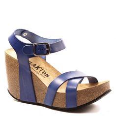 Plakton I Fine sandales compensées bleu nuit