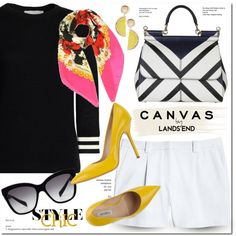 Paint Your Look With Canvas by Lands' End: Contest Entry by monica-dick on Polyvore featuring Canvas by Lands' End, Ninalilou, Dolce&Gabbana, MANGO and Lands' End