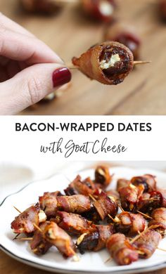 Bacon-Wrapped Dates with Goat Cheese might be the easiest and most popular appetizer at your next party. With three simple ingredients you'll have a savory-sweet treat that will disappear in no time. Popular Appetizers, Holiday Appetizers, Yummy Appetizers, Appetizer Recipes, Holiday Recipes, Christmas Recipes, Holiday Ideas, Holiday Decor, Goat Cheese Recipes