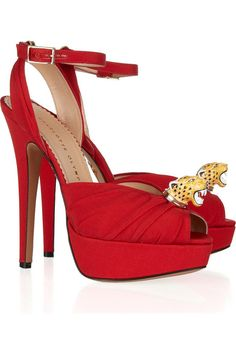 Now, these are sooo my style!! Charlotte Olympia Bruce crepe-covered leather sandals #DesignerSpotlight