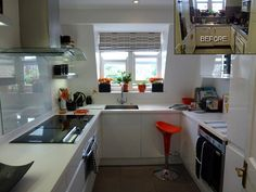 This brand new sleek white gloss bespoke kitchen by SUSSEX DESIGNS and appliances from APPLIANCE GIANTS needed some colour to bring the kitchen to life. Orange creates this bright pop styled together with black accessories too. I sourced all the accessories from vintage shops and TK Maxx.