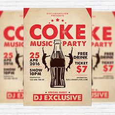 Coke Music Party - Premium Flyer Template + Facebook Cover http://exclusiveflyer.net/product/coke-music-party-premium-flyer-template-facebook-cover/
