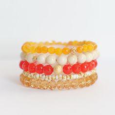 Topaz - Fossil - Czech beads - Swarovski - Gemstones  -  Gold filled bracelet yellow orange cream via Etsy