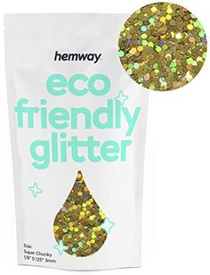 """Hemway Eco Friendly Biodegradable Glitter 100g / 3.5oz Bio Cosmetic Safe Sparkle Vegan for Face, Eyeshadow, Body, Hair, Nail and Festival Makeup, Craft - 1/8"""" 0.125"""" 3mm - Gold Holographic Vegan Friendly, Eco Friendly, Makeup Crafts, Eco Store, Eco Products, Festival Makeup, Cosmetic Packaging, Nature Prints, Holographic"""