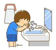 He washes his face at the sink. English Activities, Activities For Kids, Action Pictures, Baby Clip Art, School Posters, School Pictures, Animal Cards, Cartoon Kids, Toddler Preschool