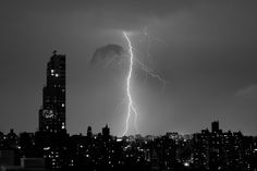 Black and White Photo of Lightning over Manhattan, New York, by James Maher Photography