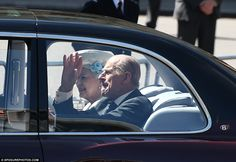 7 JUNE 2013 Wave: Fit enough to attend after being taken ill yesterday, Prince Philip waves to the crowd as the Queen's chauffeur-driven car arrives at Westminster Abbey Prince Phillip, Prince William And Kate, St Edward's Crown, Bodyguard Services, Queen's Coronation, Autumn Phillips, Carol Ann Duffy, Princess Eugenie, Duchess Of Cornwall