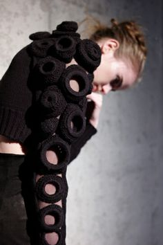Sleeve detail with crocheted circles - contemporary knitwear design; textiles for fashion // Augustin Teboul