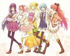 Homura, Madoka, Mami, Sayaka, and Kyoko     Puella Magi Madoka Magica Fan Art