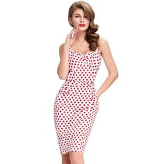 Pin Up Vintage Kleid in Weiss Rot