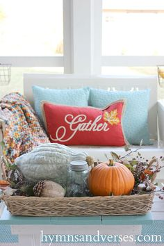 🌟Tante S!fr@ loves this📌🌟Aqua and Orange Fall Porch Decor with Hubbard squash, orange pumpkins, mums, and berries. Autumn Decorating, Porch Decorating, Decorating Your Home, Fall Home Decor, Autumn Home, Coastal Fall, Modern Coastal, Coastal Decor, Seasonal Decor