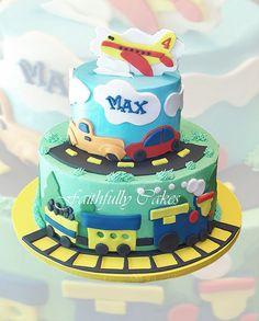 Transportation Birthday Cake by FaithfullyCakes, via Flickr