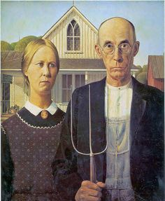 Wood, Grant (1892-1942) - 1930 American Gothic, Art Institute of Chicago-Grant DeVolson Wood was an American painter, born in Anamosa, Iowa. He is best known for his paintings depicting the rural American Midwest, particularly the painting American Gothic, an iconic image of the 20th century.