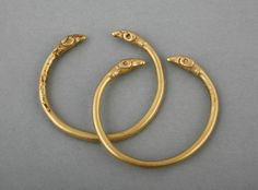 Pair of Bracelets with Rams Head FinialsVani, Western Georgia, ca. 450 B.C.Gold