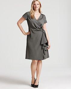 Lafayette 148 New York Plus Size Stretch Silk Ruffle Wrap Dress $762.90