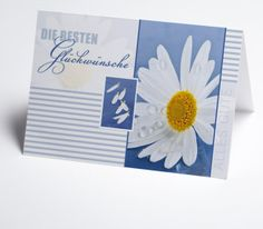 #Grusskarte blauweiß mit Margeriten Cover, Gift Cards, Invitation Cards, Xmas Cards, Invitations, Wedding, Blankets