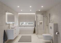 En lys, varm og tidløs stil gjør rommet lyst og luftig med en stil som passer i de fleste hjem. Den runde vasken myker opp inntrykket sammen med de organiske formene på badekaret. Her får du et baderom som gir en god start på dagen og som fungerer godt i hverdagen.