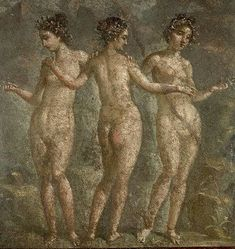 Ancient Roman Fresco Painting of The Three Graces. A painting from Pompeii