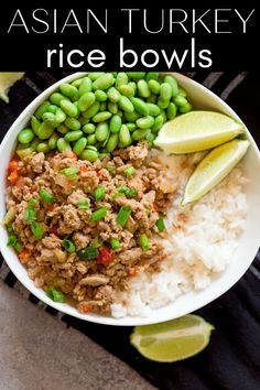 Asian Turkey Rice Bowls are super easy to whip up, are great for meal prep, and are also freezer friendly! The Asian flavored turkey takes less than 20 minutes to cook and is delicious paired with fluffy rice and cooked edamame. Make a double batch and freeze half of it for later! Asian Recipes, Ethnic Recipes, Easy Recipes, Chicken Rice Soup, Sweet Chili, Healthy Dinner Recipes, Healthy Food, Recipes From Heaven, Asian Cooking