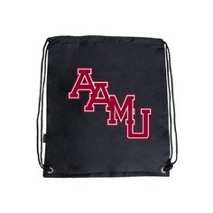 Alabama A&M Nylon Black Drawstring Backpack, AAMU Stacked by College Fan Gear. $9.98. A staple for everyday use as a cinch pack or backpack. Value backpack with cinch closure. Easy access storage compartment. Non PVC. 13.75 in.L 16 in.H.