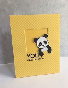 Another card today with the adorable panda from the Simon Says Stamp stamp set, Cool Panda! I stamped the cutie panda and cut him ou. Handmade Birthday Cards, Greeting Cards Handmade, Funny Greeting Cards, Kids Cards, Baby Cards, Panda Bebe, Birthday Card Sayings, Panda Party, Marianne Design