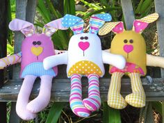 The Carrot Club Bunny Softies  PDF Pattern by TheRedBootQuiltCo