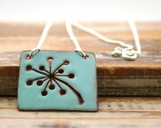 Dandelion - custom color enamel pendant necklace on sterling silver chain.