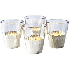Serena & Lily Plated Glass Votives (£61) ❤ liked on Polyvore featuring home, home decor, candles & candleholders, handmade home decor, glass votives, glass votive candles and glass home decor