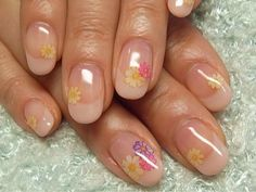 Beige French Manicure with Flowers
