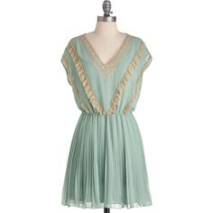 Dance Lessons Dress ($26) ❤ liked on Polyvore featuring dresses, blue, elastic waist dress, blue sheer dress, stretchy dresses, transparent dress and green dress