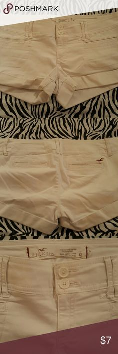 Hollister white shorts size:9 Gently used from a non smoking home.  Hollister white shorts size 9. Cute for the summer! Hollister Shorts