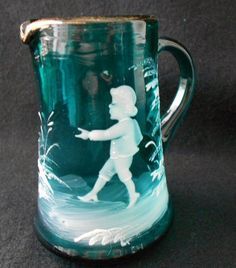 Mary Gregory antique glass miniature pitcher...such lovely detail in a tiny object!