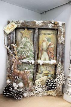 Christmas Window weihnachten wohnzimmer 31 Indoor Woodworking Projects to Do This Winter Christmas Frames, Primitive Christmas, Christmas Pictures, Rustic Christmas, Christmas Art, Christmas Projects, Handmade Christmas, Christmas Holidays, Christmas Wreaths