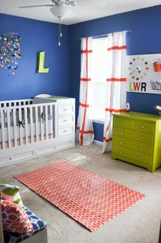 Lincoln S Blue Orange And Lime E Themed Nursery