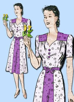 1940s Vintage Anne Adams Sewing Pattern 4120 WWII Misses Sweetheart Dress 38B