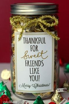Thankful for Sweet Friends Like You Christmas Gift Idea - Cute. Simple. Inexpensive! Avery full-sheet labels would be perfect for the free printable. No glue needed.
