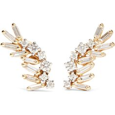 Suzanne Kalan 18-karat yellow and white gold diamond earrings (£1,395) ❤ liked on Polyvore featuring jewelry, earrings, 18 karat gold earrings, diamond earrings, diamond jewelry, gold post earrings and 18k earrings