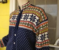 Fair Isle Cardigan Sweater- 1960's in Navy Blue, Red, Olive Green- Wool & Hand Knit.