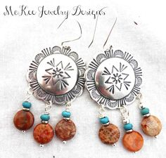 Turquoise and orange stone sterling silver earrings. McKee Jewelry Designs