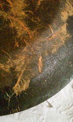 Decoupage sottovetro tovagliolo craquele' porporina oro acrilico rosso...sul retro  craquele' cera antica verde cangiante e carta di riso vernice opaca per proteggere l'oggetto