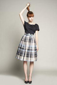 Cotton Dress with Tartan Skirt by Mrs Pomeranz. £285.00, via Etsy. Adorable modest dress.