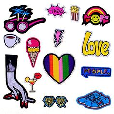 14pcs/lot Cloth Patches Garment Applique DIY Decoration Accessories- French Fries Rainbow Coffee Maple Leaves Love Heart Flash Shoes Cocktail Ice Cream Sun Glasses Smoking Patch -- Awesome products selected by Anna Churchill