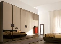 Sleek Wardrobe Designs for Contemporary Interior: Luxurious Glossy Look For Modern Bedroom Modern Style Reflection Mirror Wardrobe Design Id...